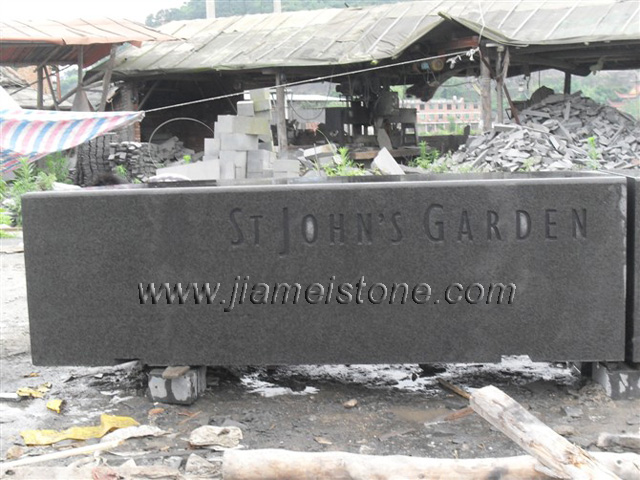 black basalt with sandblast letters