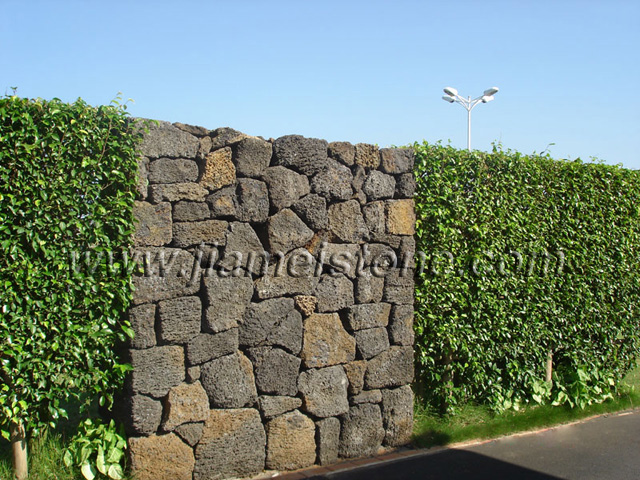 lava stone stacked walling, lava stone rock stacked wall