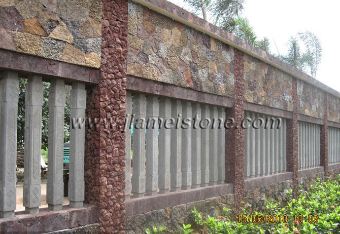 red lava stone wall, red lav rock walling