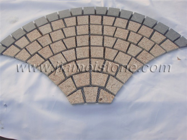 mesh backed granite pavers fan shape