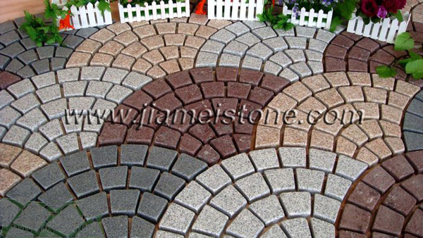 fan shape mesh backed pavers