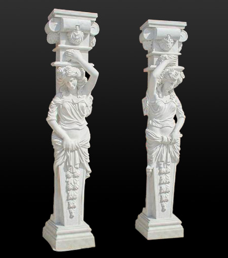 Marble Pillars Stone Columns Roman Style And Greek Caps Capital Base Pedestal For Garden And