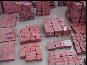 red porphyry cubes, red porphyry cobblestone